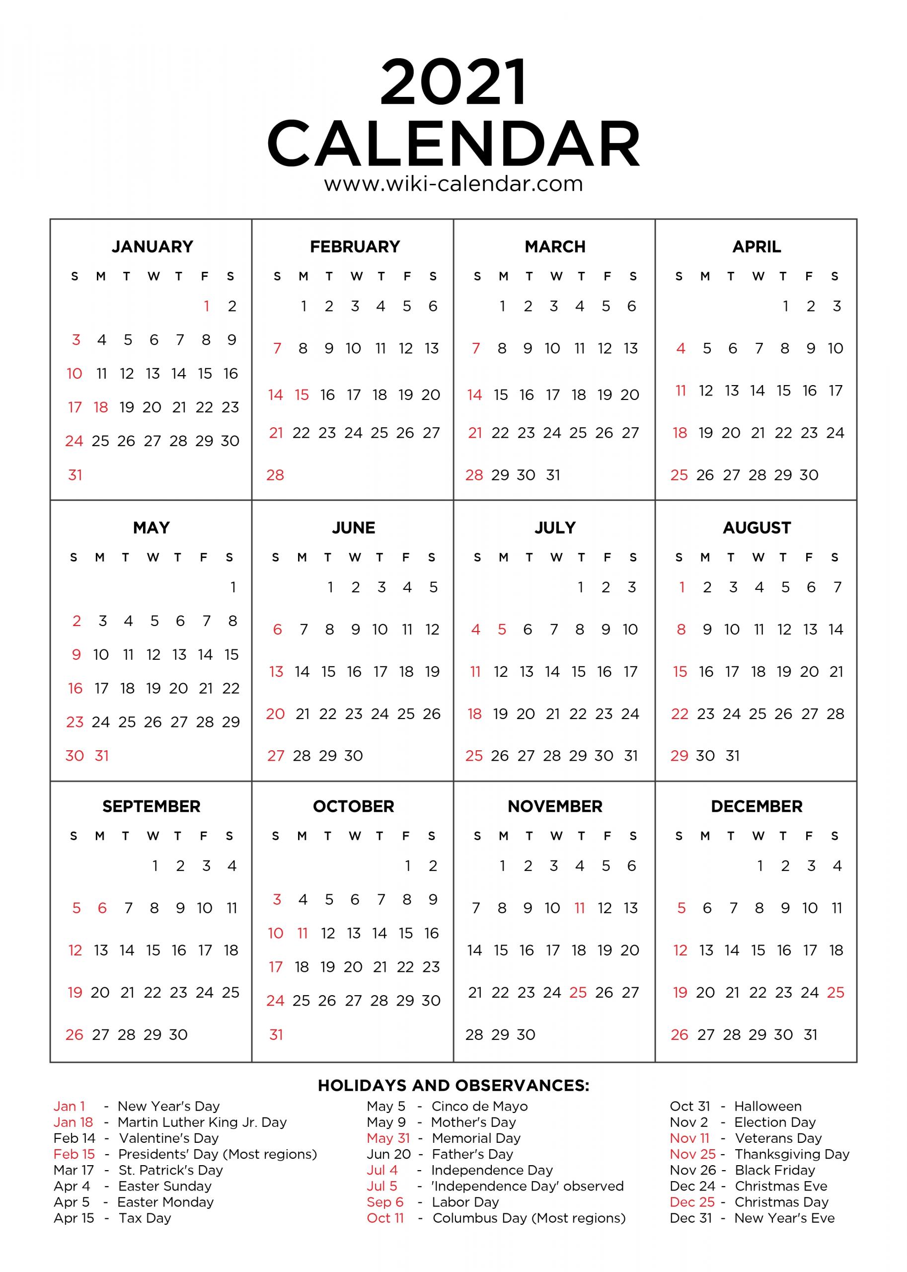 2021 Calendar With Holidays Printable | Calendar Template With 2021 Calendar With Federal Printabl