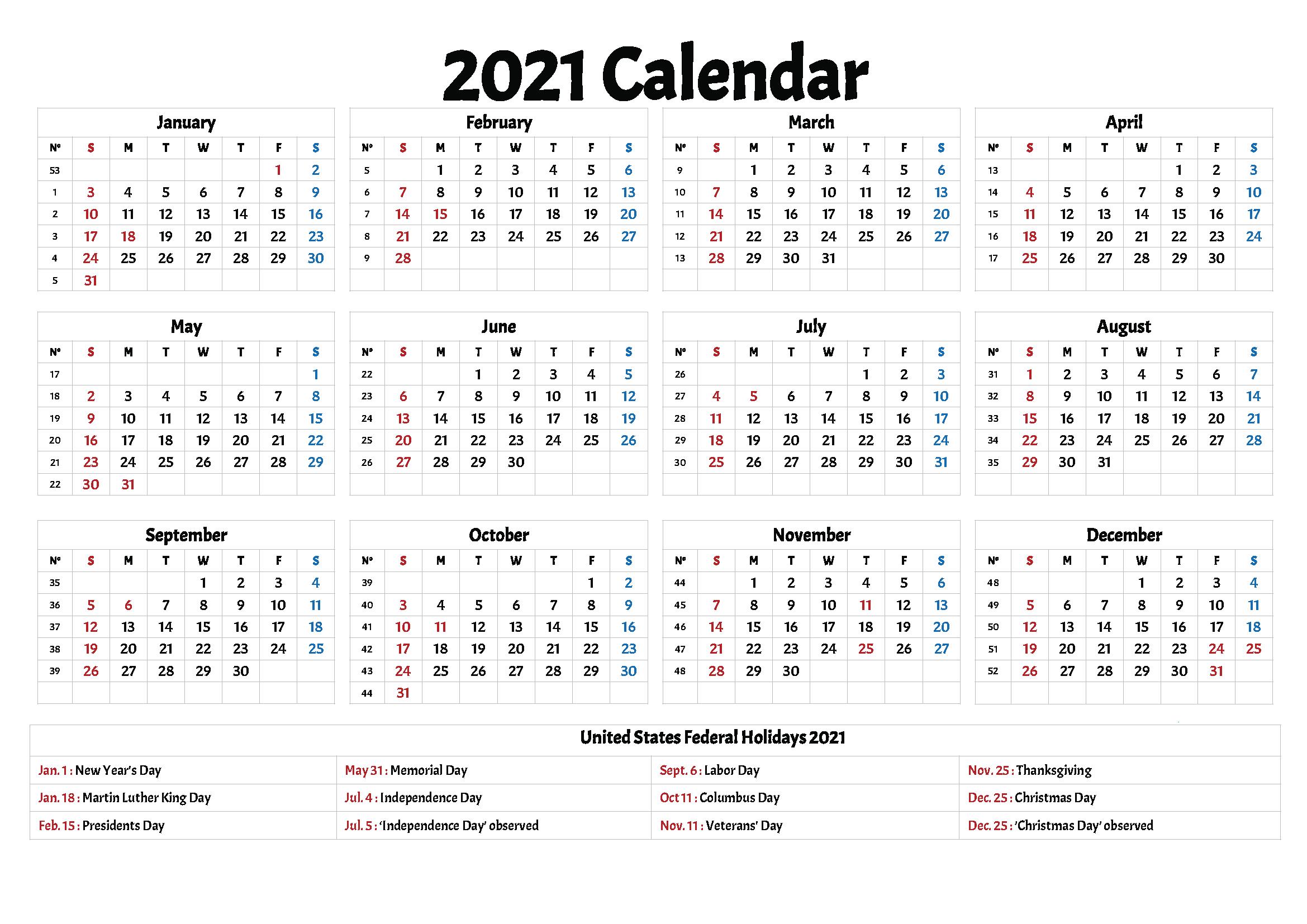 2021 Calendars With Holidays Printable – Printable Calendar Within 2021 Calendar With Federal Printabl