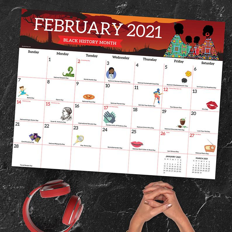 2021 Every Day'S A Holiday Large Desk Pad Monthly Calendar | Etsy In Every Holiday Calendr