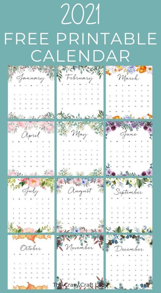 2021 Free Printable Floral Wall Calendar – The Crazy Craft Pertaining To Mexican Calendar Saint Names 2021