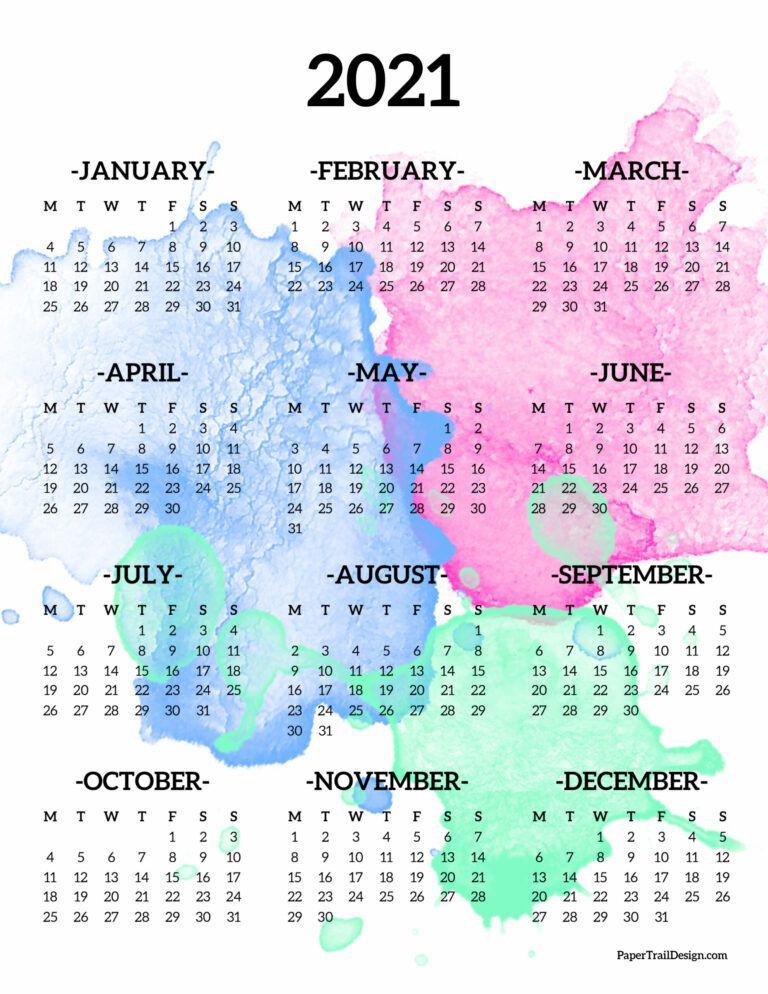2021 One Page Calendar – Monday Start | Paper Trail Design For 454 Calendar 2021
