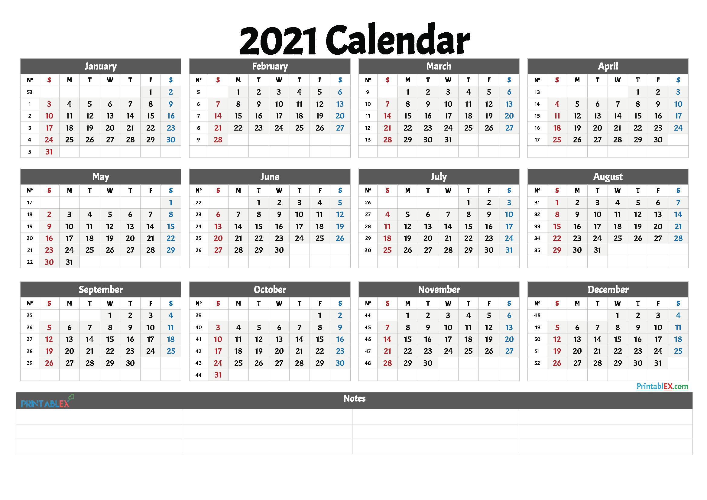 2021 Printable Calendar With Week Numbers | Free Printable Within 2021 Calendar With Federal Printabl