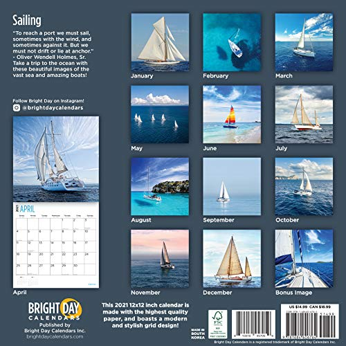 2021 Sailing Wall Calendarbright Day, 12 X 12 Inch With Regard To Full Sail 2021 Calendar