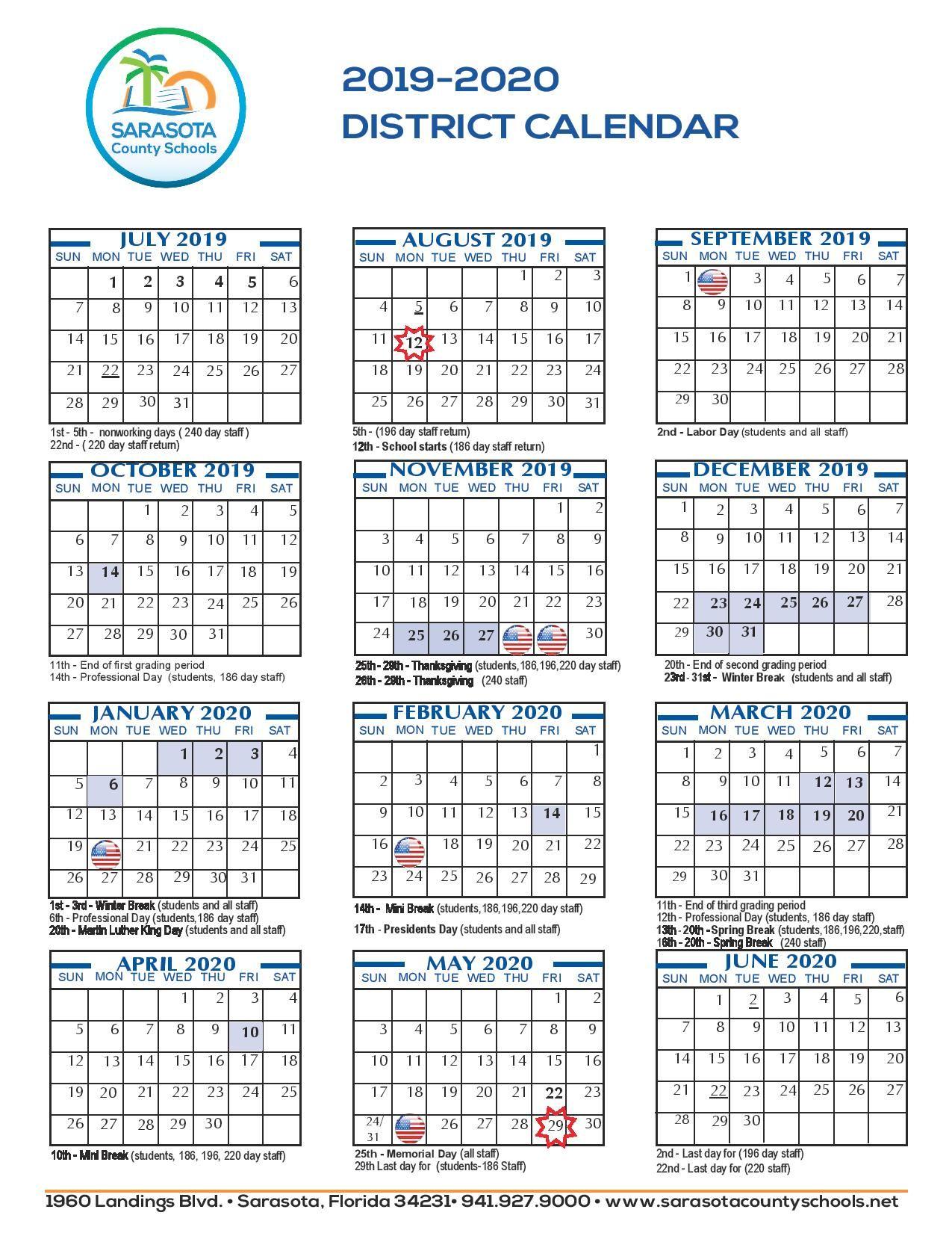 2021 Sarasota Schools Calendar   Calendar 2021 With 12 Mo Calendar 2021