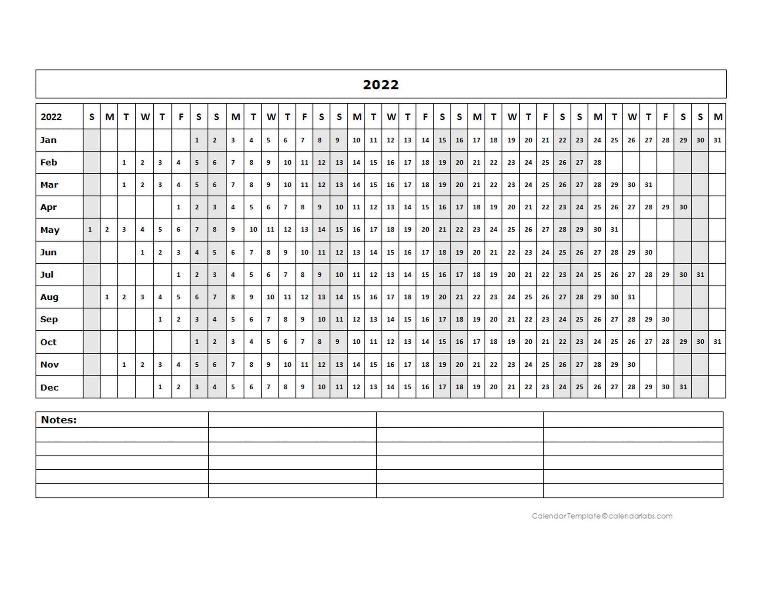 2022 Blank Landscape Yearly Calendar Template – Free Inside Julian Date Calendar 2022