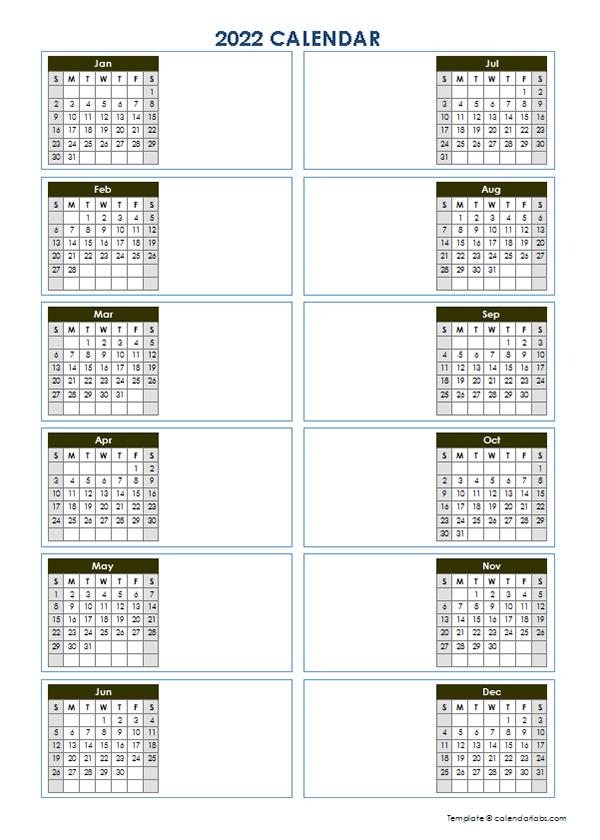 2022 Blank Yearly Calendar Template Vertical Design - Free pertaining to Julian Calendar 2022