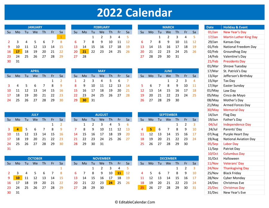 2022 Printable Calendar With Holidays Intended For Julian Calendar 2022