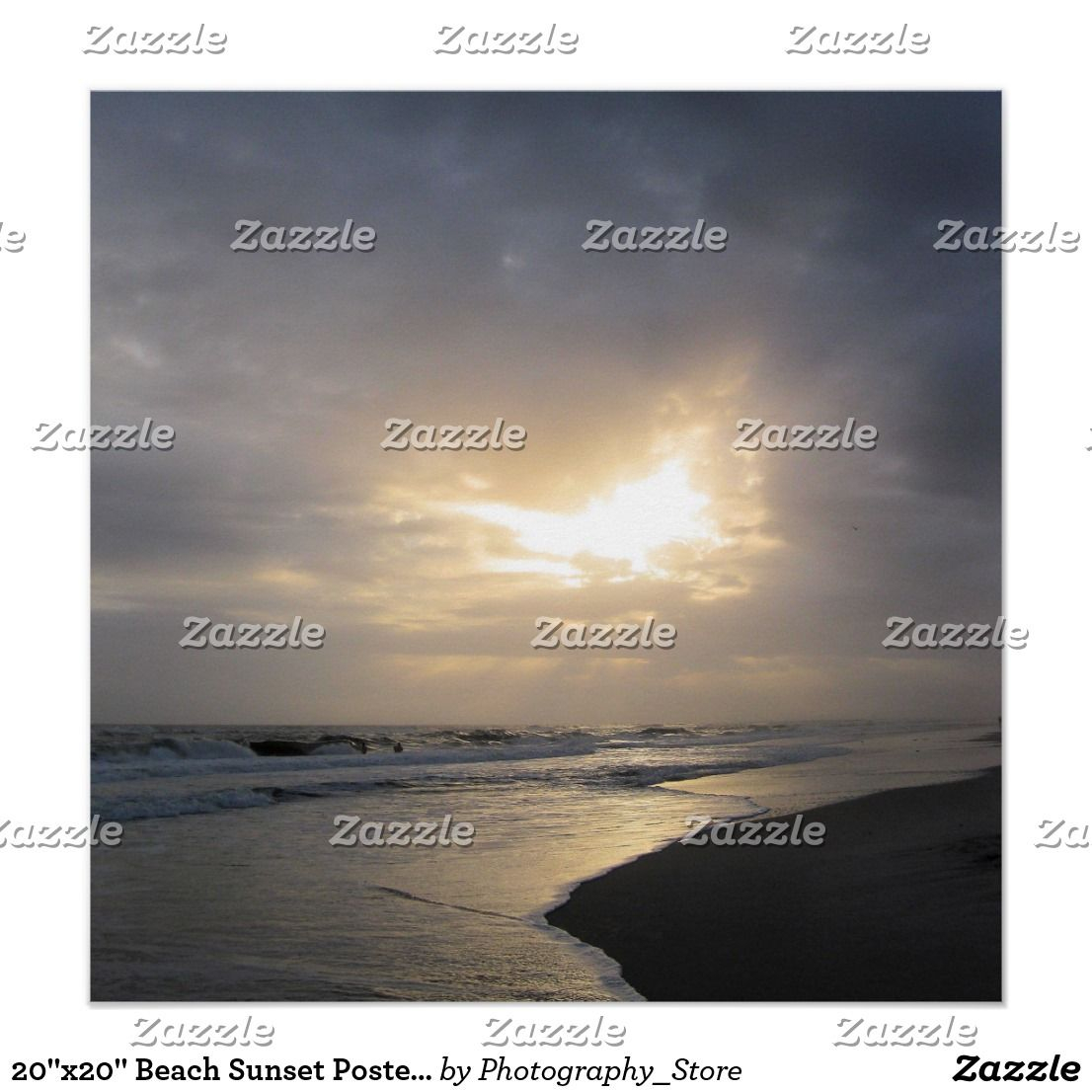 """20""""X20"""" Beach Sunset Poster Print 