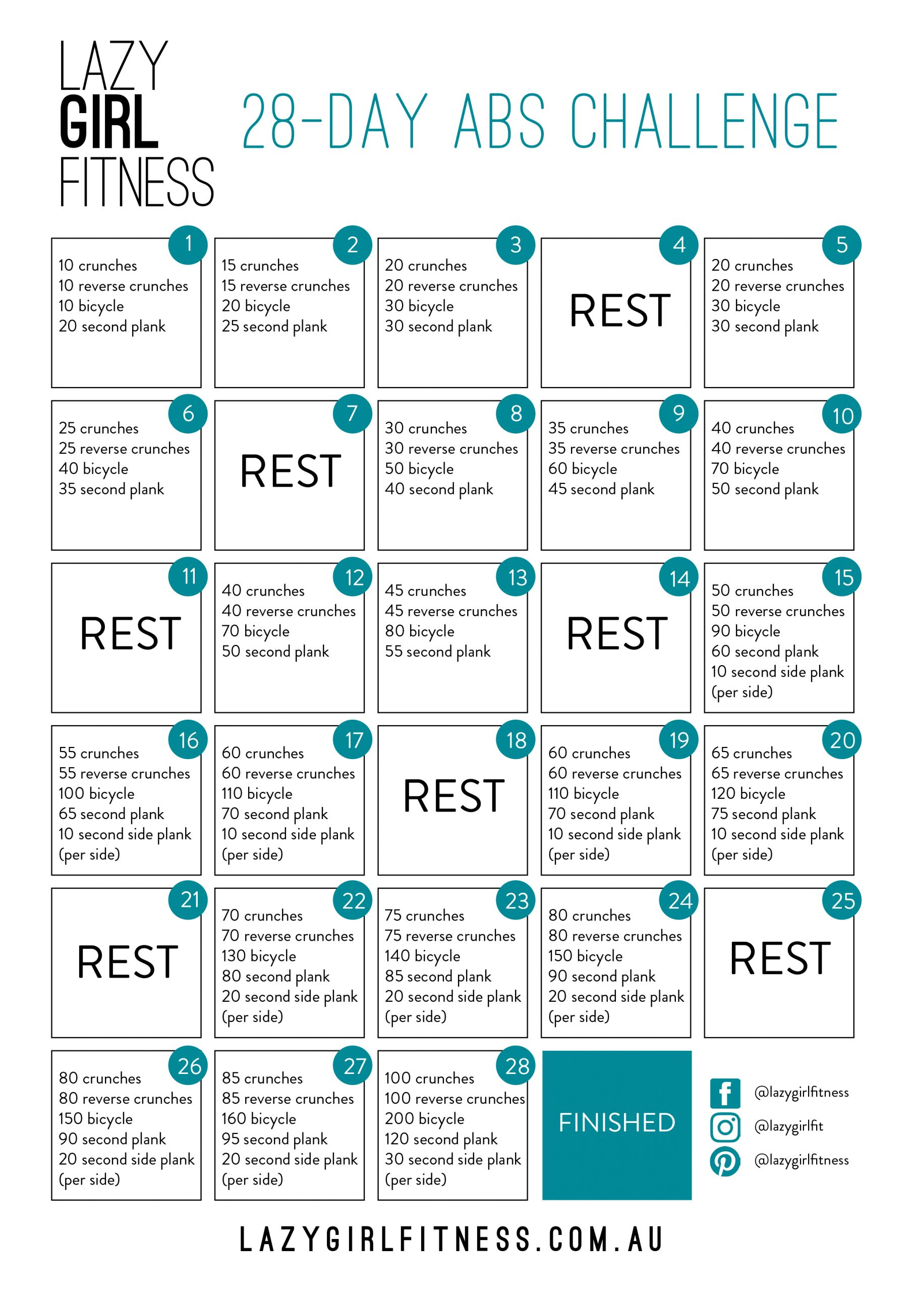 28 Day Abs Challenge - Lazy Girl Fitness Inside 30Days Abs Challenge Printable