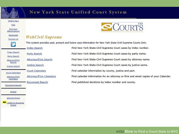 3 Ways To Find A Court Date In Nyc - Wikihow With Court Calendar By Defendant Name