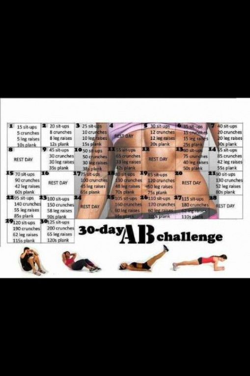 30 Day Ab Challenge   30 Day Ab Challenge, Ab Challenge Pertaining To 30 Day Sit Up Challenge Pdf