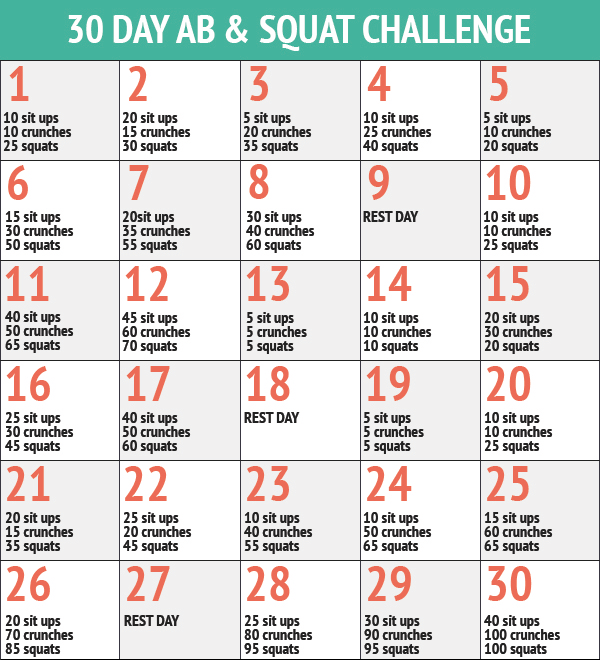 30 Day Ab & Squat Challenge   Squat And Ab Challenge, 30 For Squat Challenge For Beginners Printable