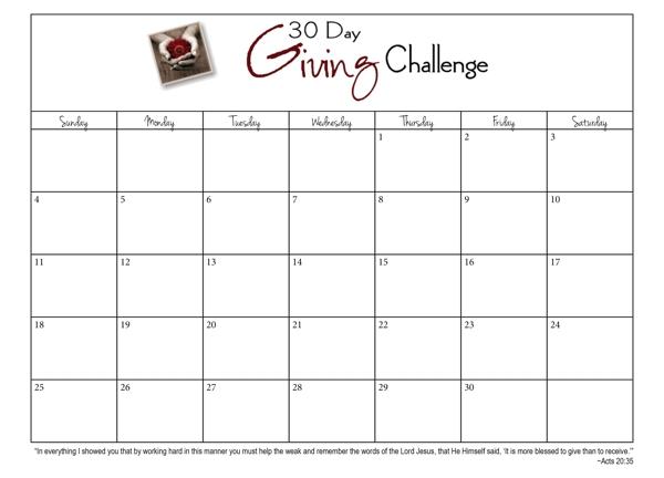 30 Day Blank Calendar Template : Free Calendar Template For 30 Days Calendar
