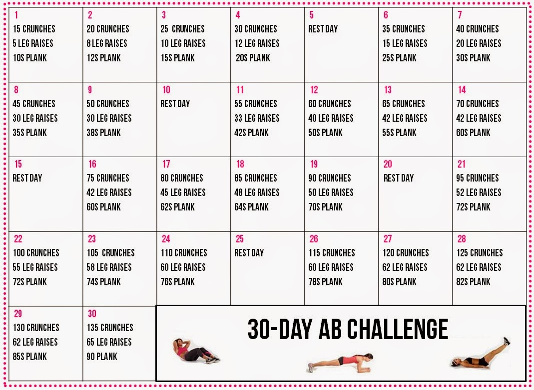 30 Day+Ab+Challenge+Calendar (1069×782) | Workout Within 30Days Abs Challenge Printable