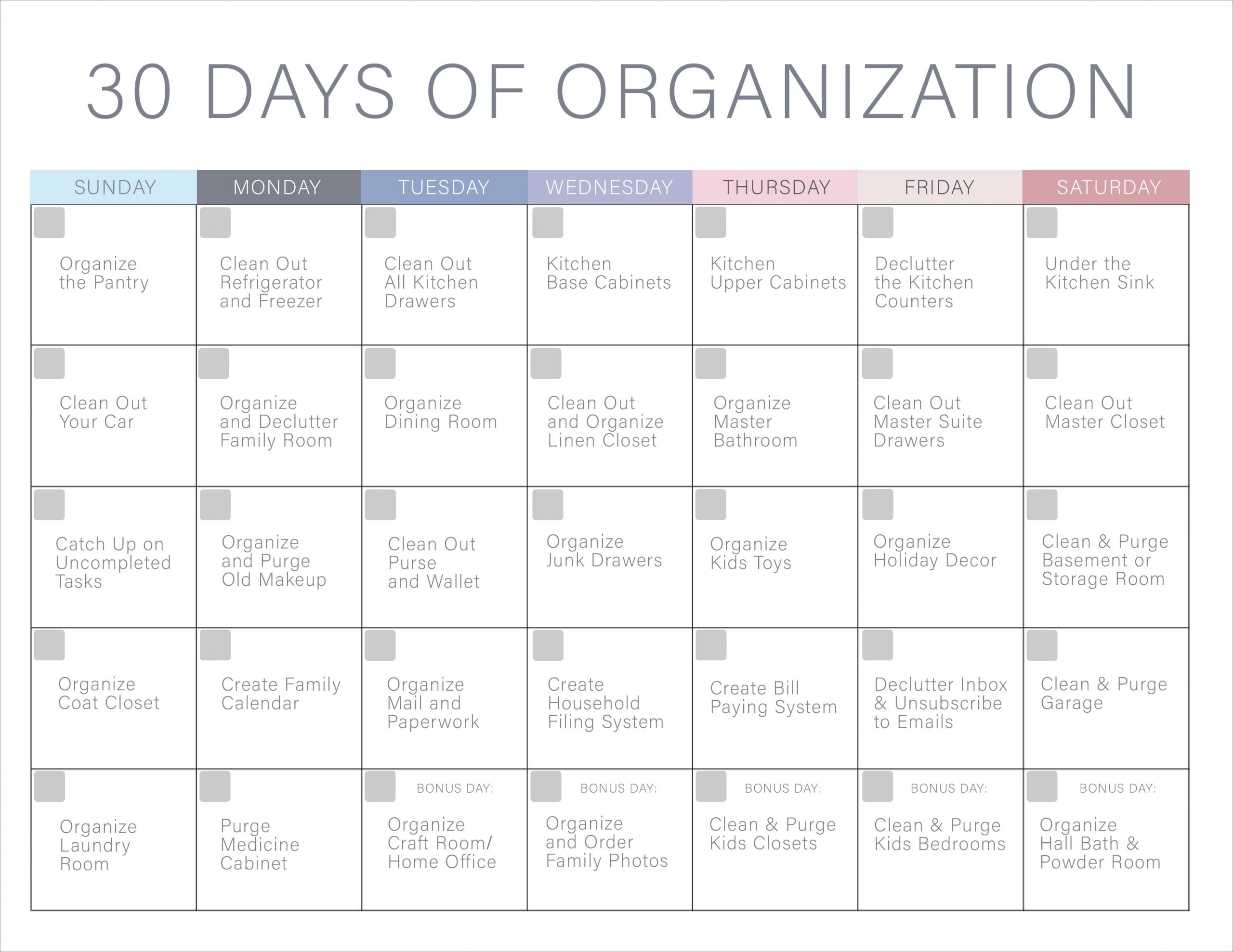 30 Days Of Organization Challenge – Declutter Your Home! Pertaining To 30 Days Calendar