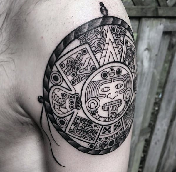40 Mayan Calendar Tattoo Designs For Men - Tzolkin Ink Ideas in 60 Calendar Days Back From Today