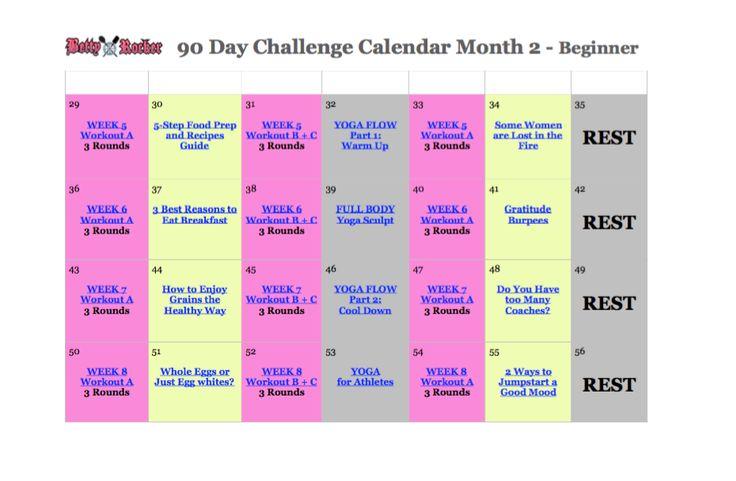 90Day 2 Beginner Img   Workout Calendar, Workout Challenge For 90 Day Calendar Pdf