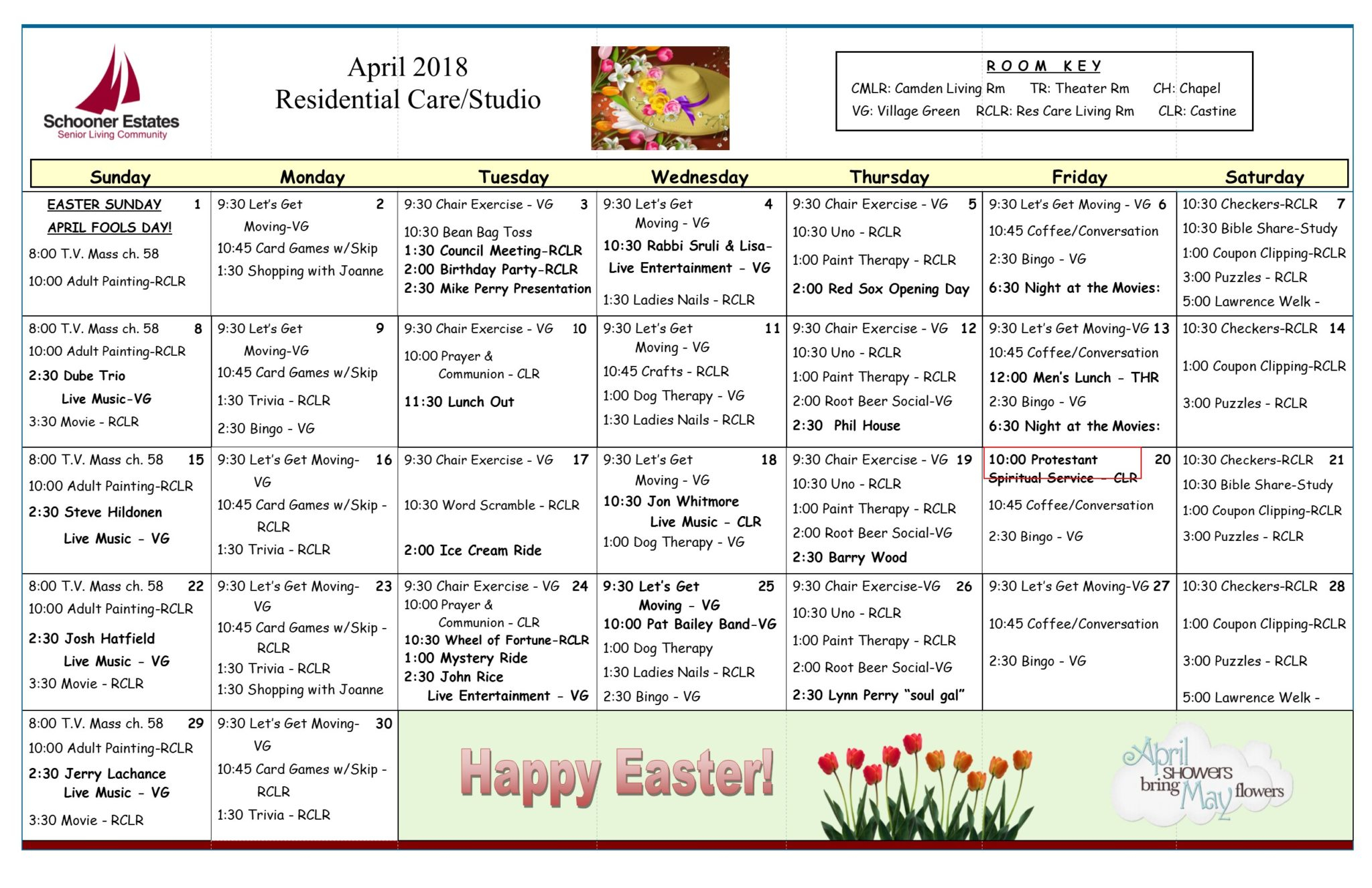 Activity Calendars Throughout Assisted Living Calendars