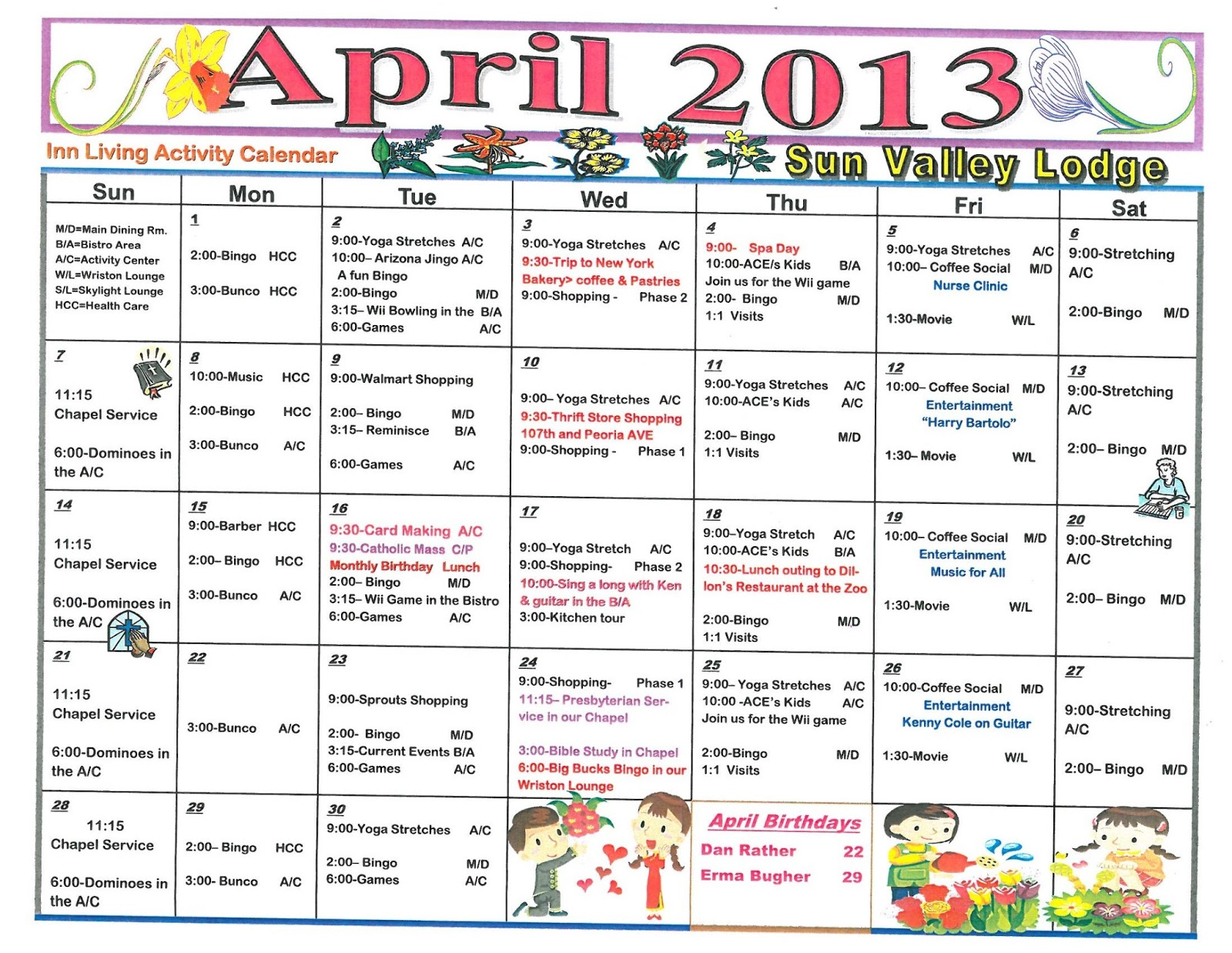 April 2013 Assisted & Independent Living Activity Calendar With Assisted Living Calendars