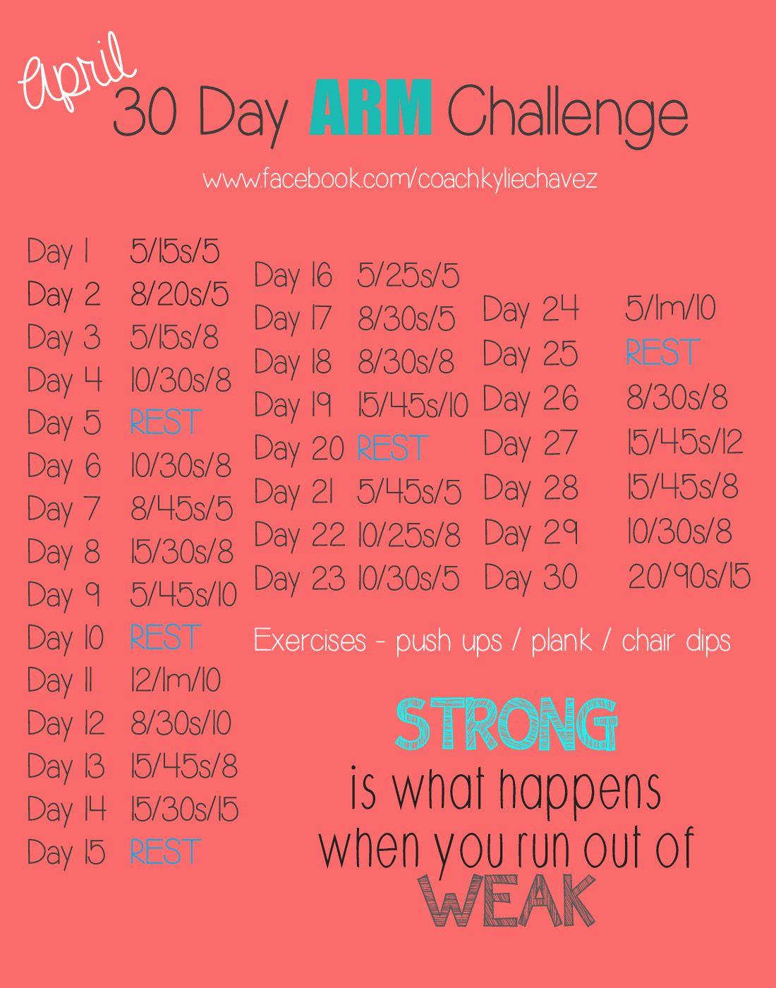 April Fitness Challenge – Arm   Workout Challenge, 30 Day For April Fitness Challenge
