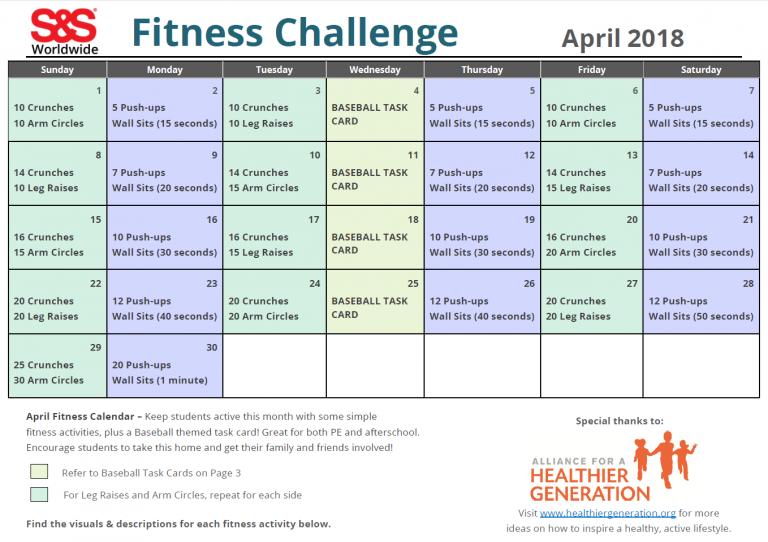 April Printable Fitness Challenge Calendar   Workout For April Fitness Challenge