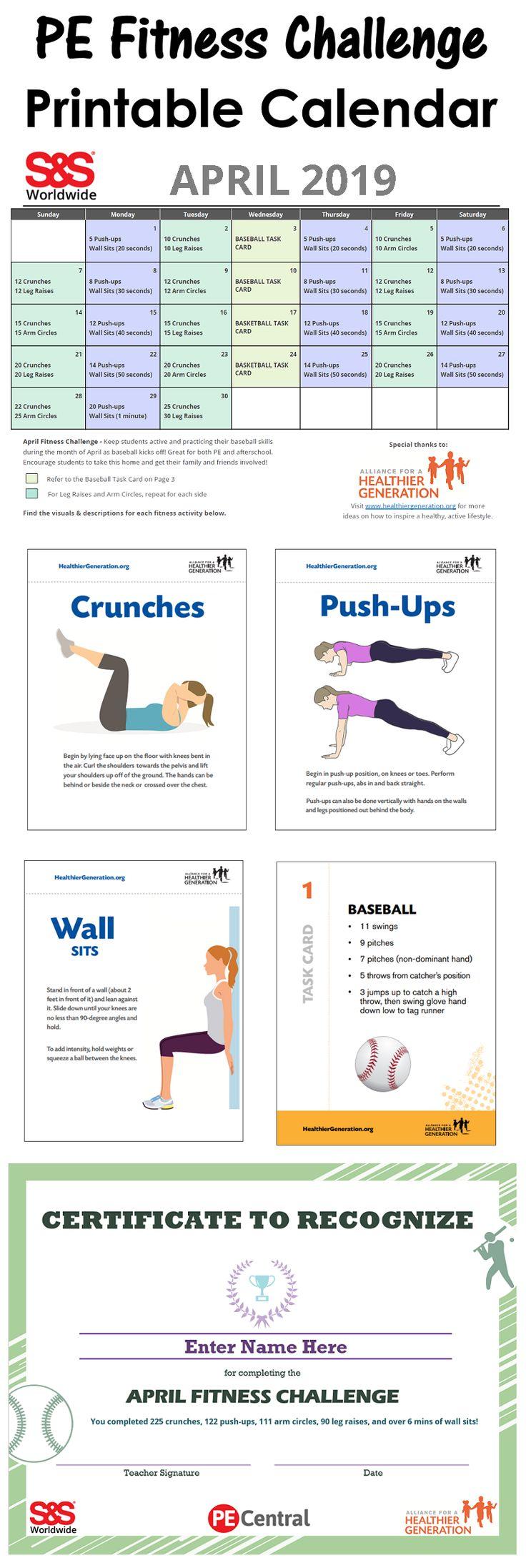 April Printable Fitness Challenge Calendar   Workout Regarding April Fitness Challenge