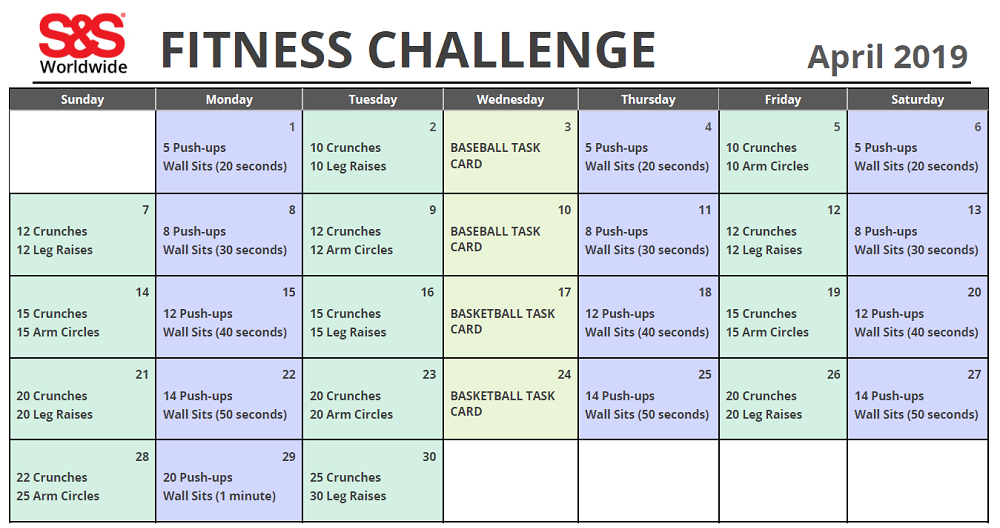 April Printable Fitness Challenge Calendar   Workout With Regard To April Fitness Challenge