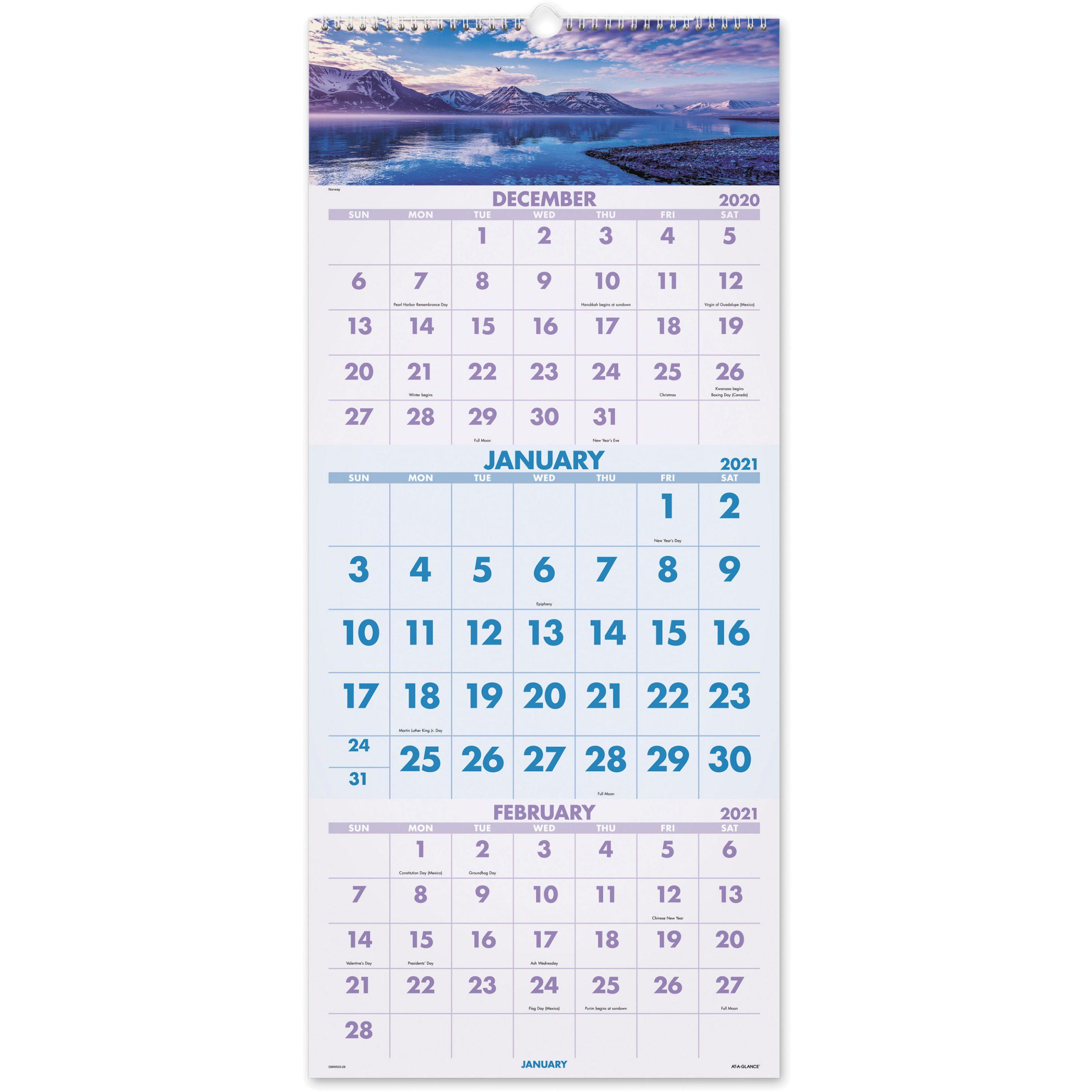 At A Glance Scenic Design 3 Month Wall Calendar - Julian Regarding Julian Date Calendar 2022