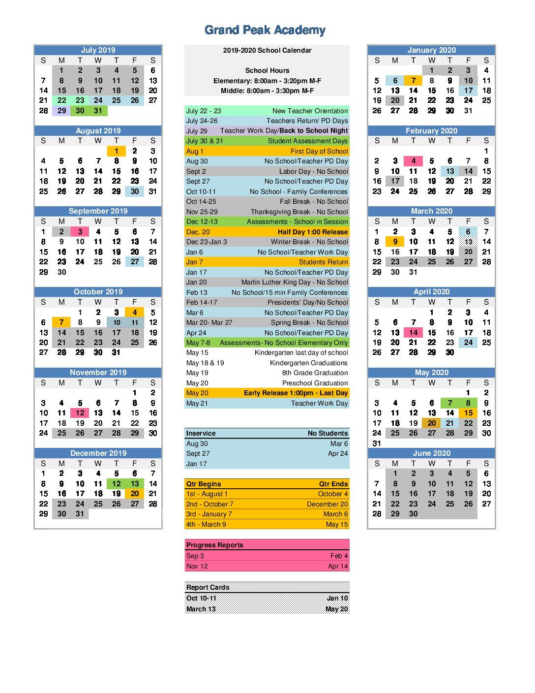 Back To School Night 2019 2020 | Grand Peak Academy Pertaining To Colorado Springs District 20 Calendar