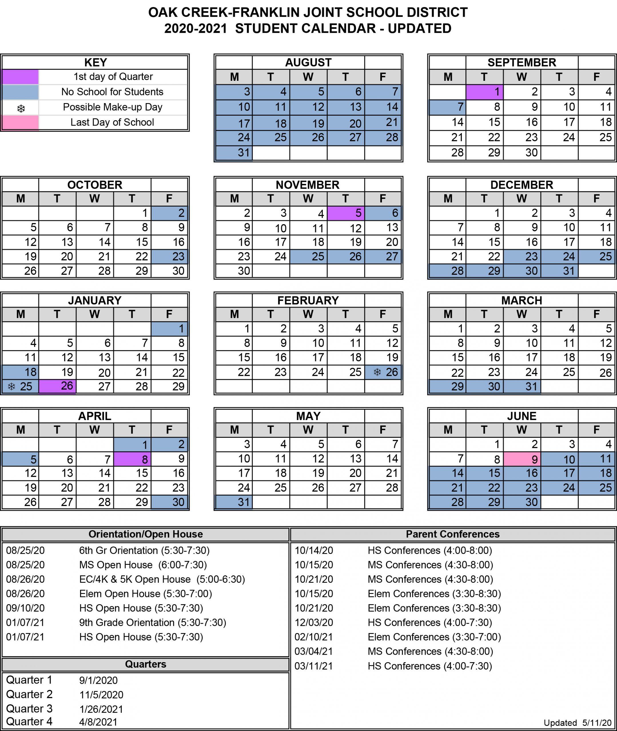 Back To School – Oak Creek – Franklin Joint School District With Regard To Warren County Ky School Calendar 2021