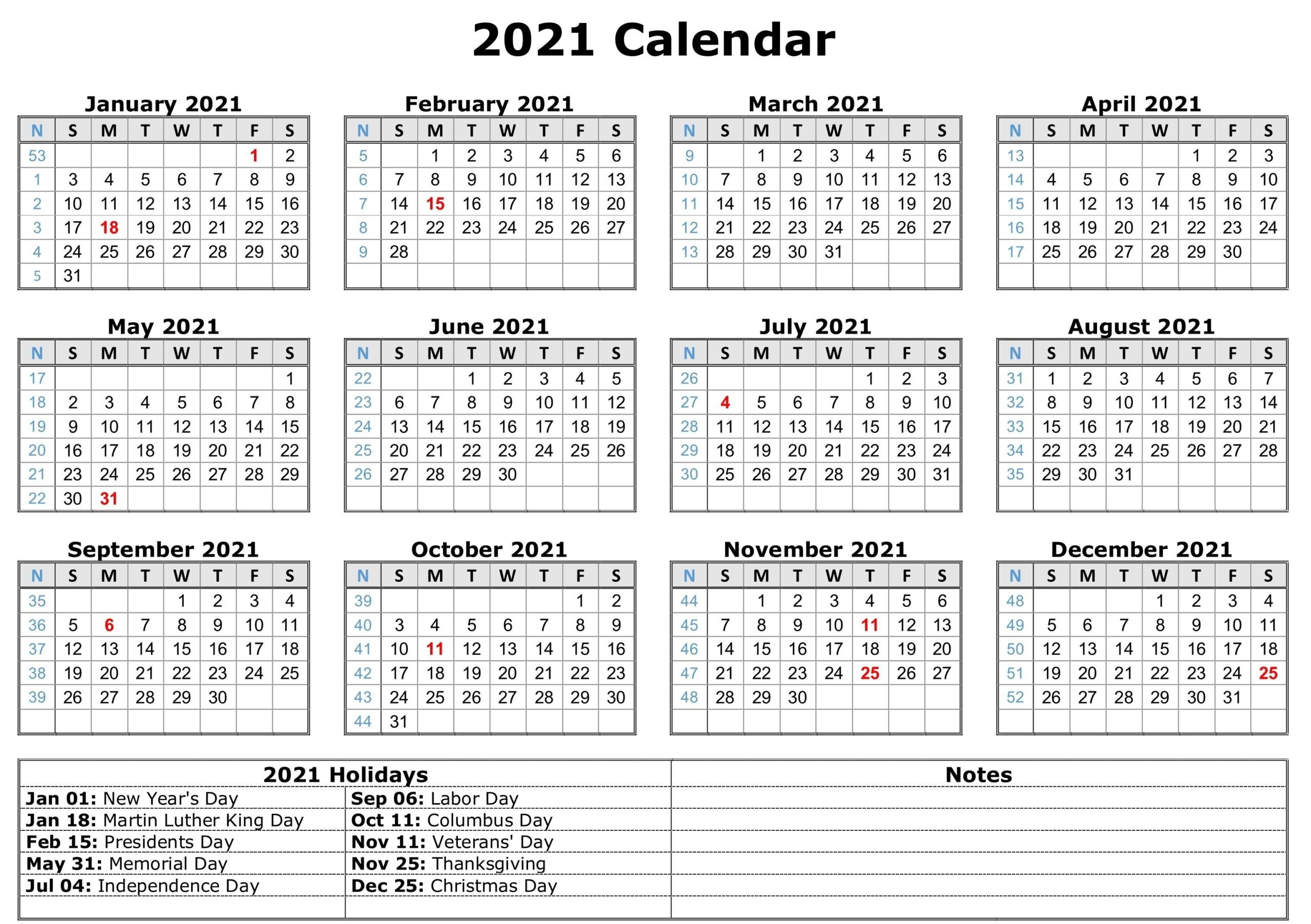 Blank 2021 Calendar Printable | Calendar 2021 Within 2021 Calendar With Federal Printabl