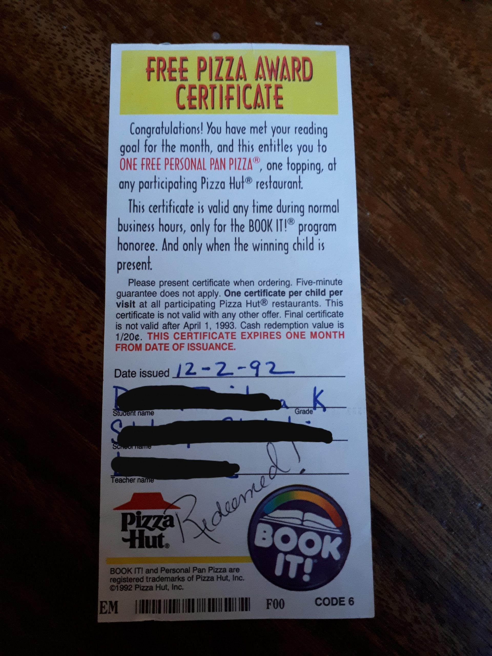Book It Certificate. Pizza Is A Good Motivator. : Nostalgia Within Pizza Hut Bookit 2022 21 Schedule