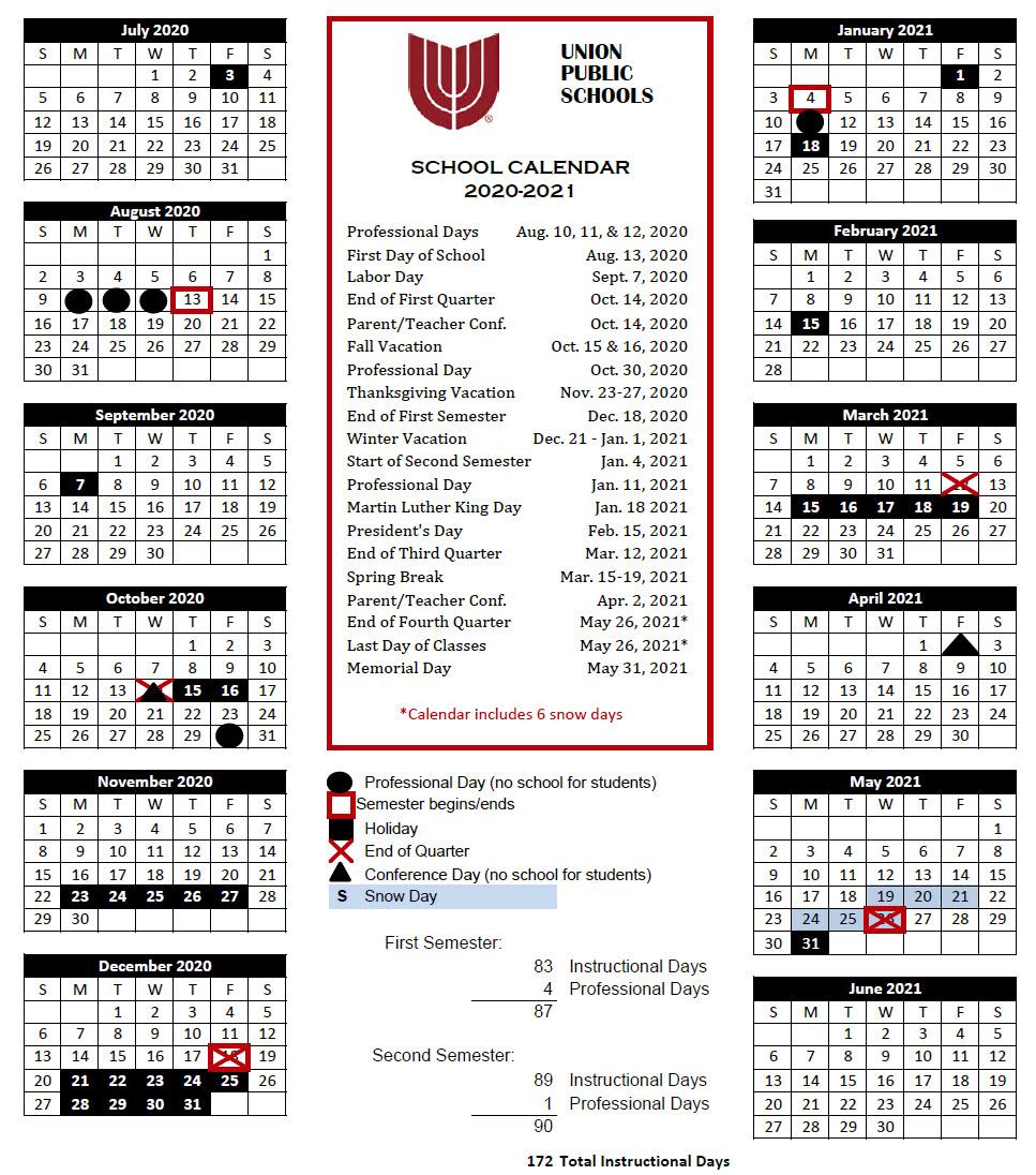 Broken Arrow Public Schools Calendar   Printable Calendar Intended For Bay County School Calendar 2020/2021