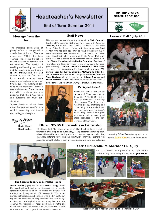 Bvgs Head'S Newsletter End Of Summer Term 2011Webdox Regarding When Does Sinclair'S Summer Term End
