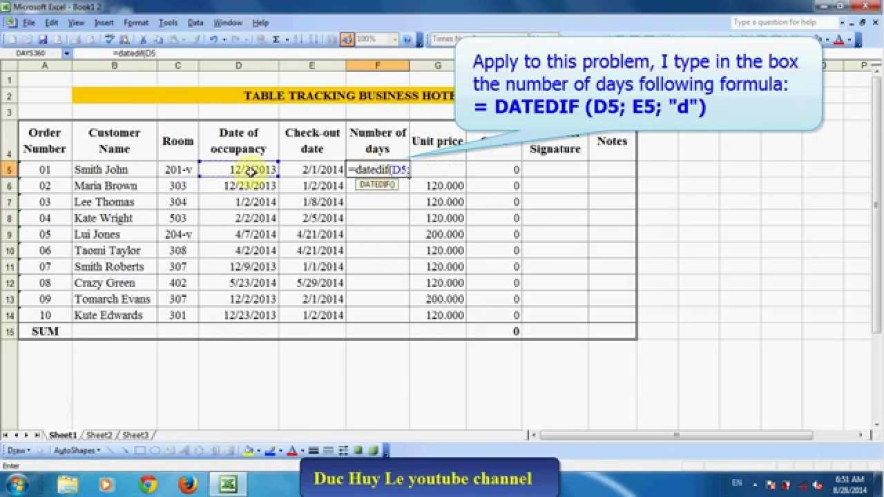 Calculate The Number Of Days Between Two Dates In Excel With Change Excel Data To Calendar View
