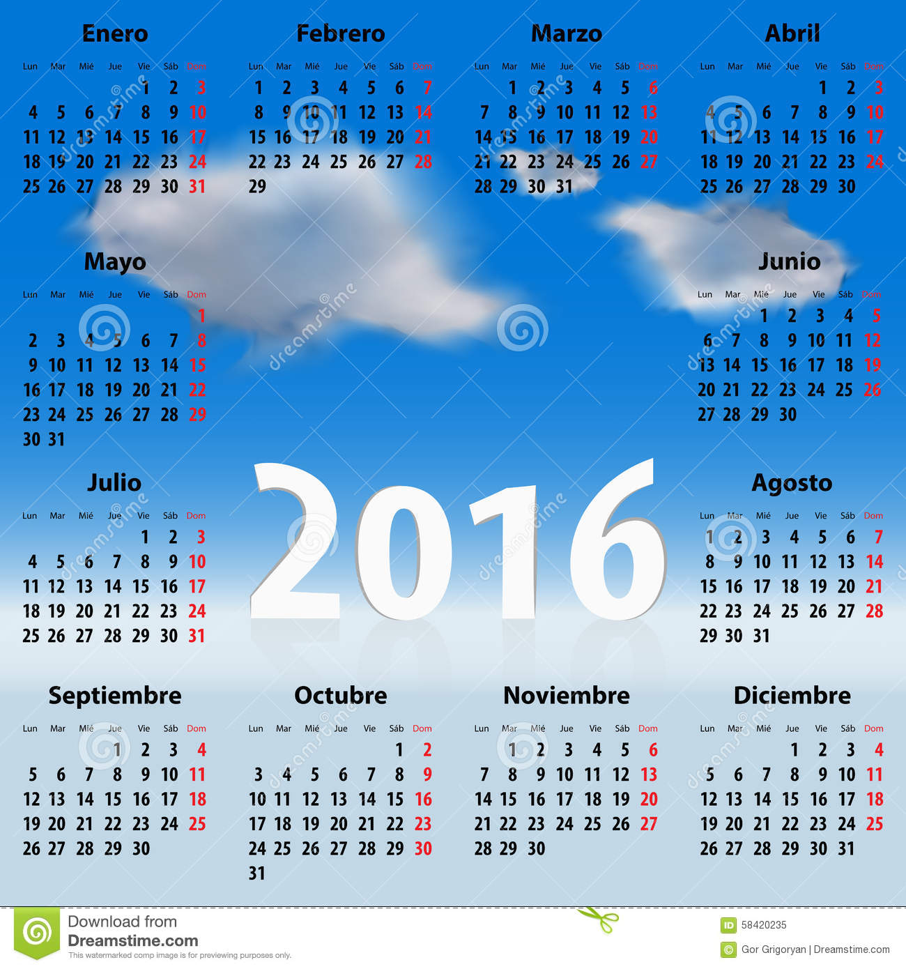 Calendar For 2016 Year In Spanish With Clouds Stock Image Regarding Mexican Caladener Names