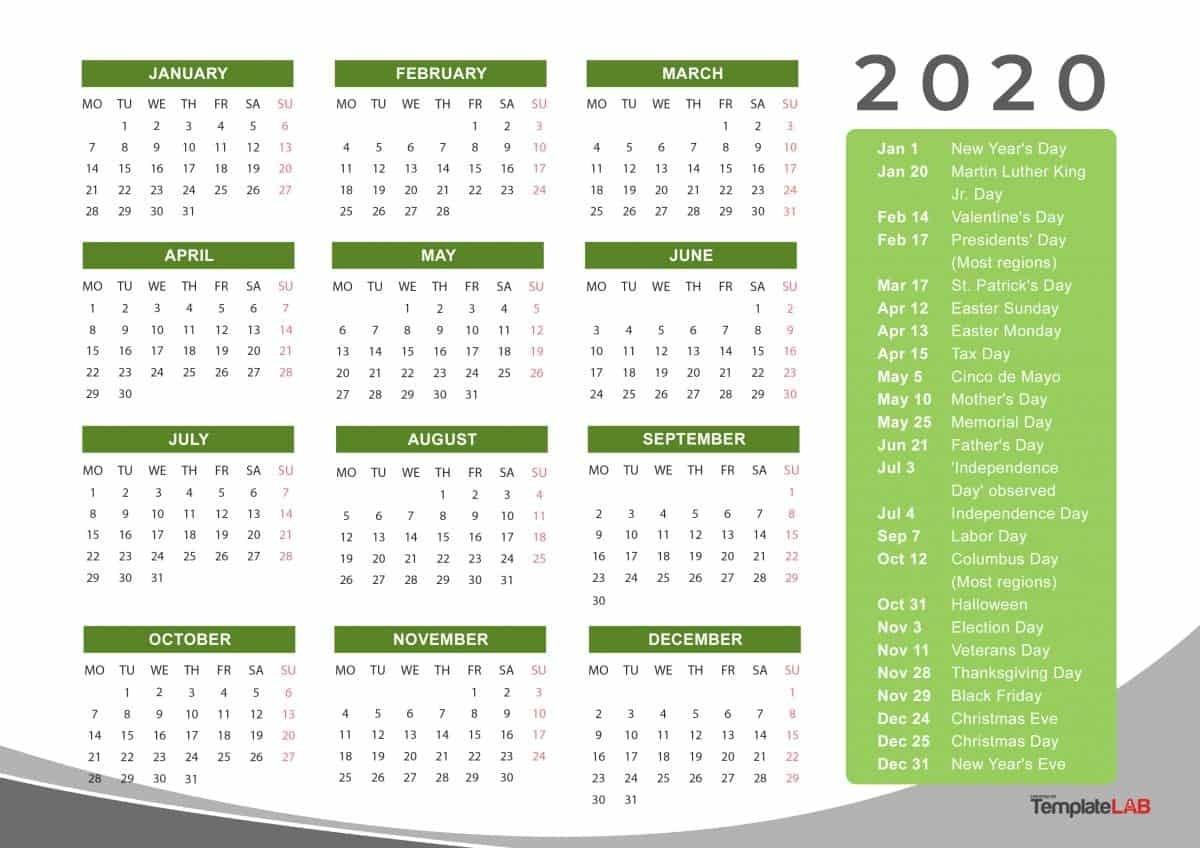 Calendar Labs 2020 Templates   Calendar Template Printable For Every Day Is A Holiday Calendar 2021 Printable