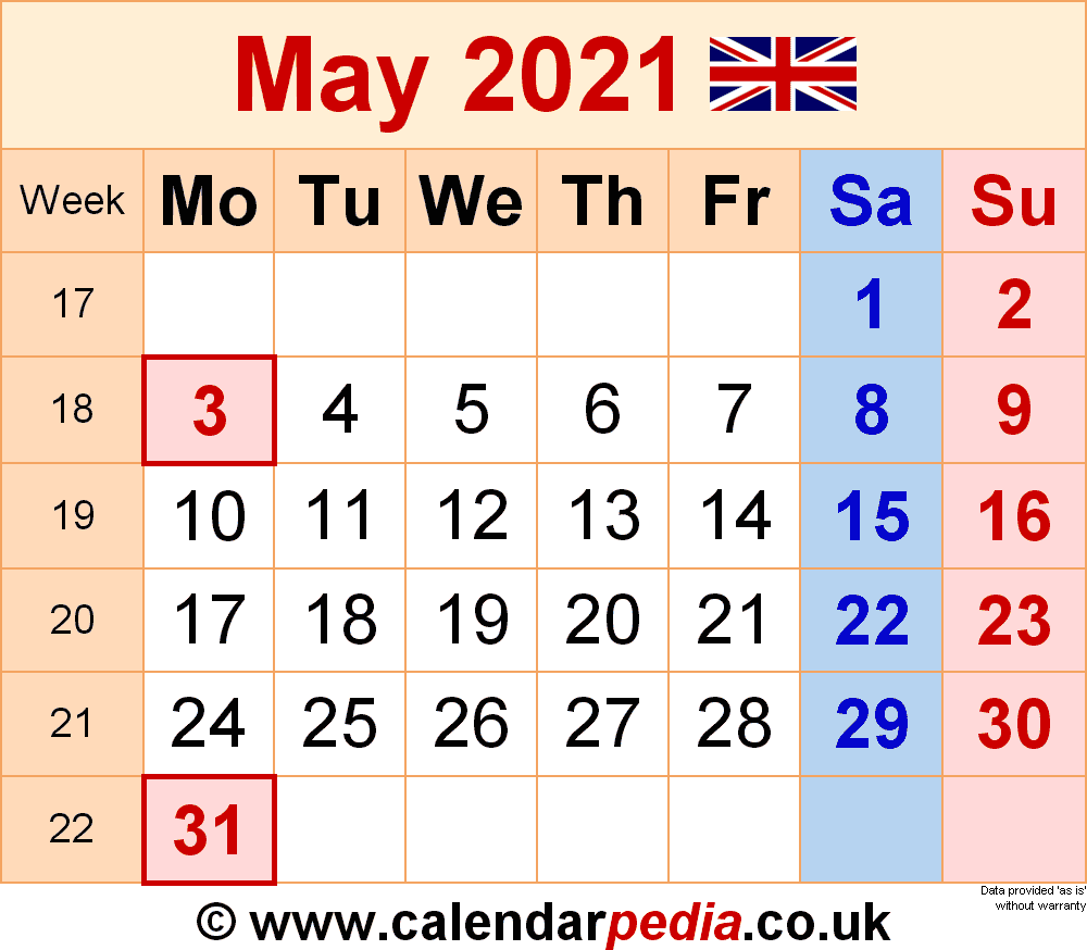 Calendar May 2021 Uk With Excel, Word And Pdf Templates For 12 Mo Calendar 2021