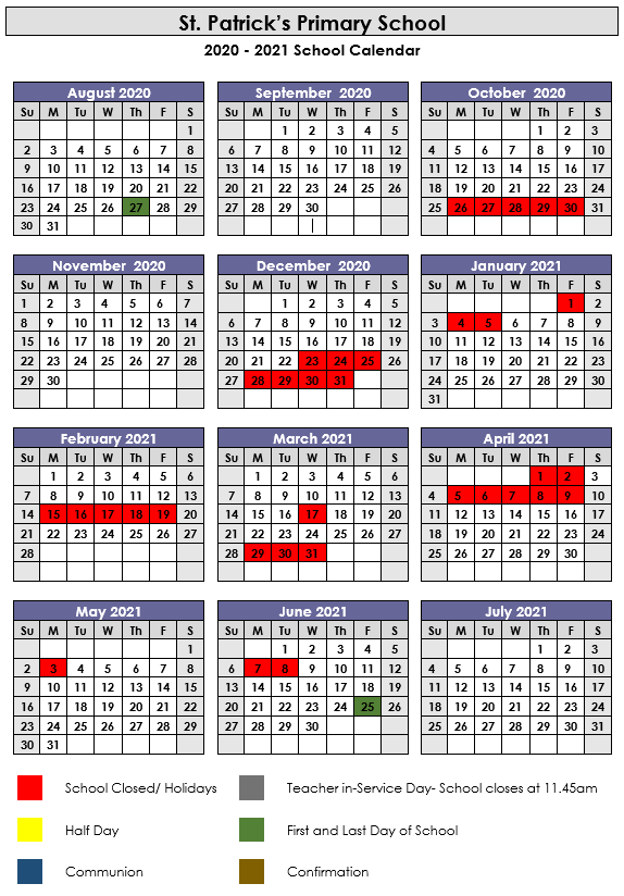 Calendar - Saint Patrick'S Primary School, Galway City With Regard To Mexican Calendar Saint Names 2021