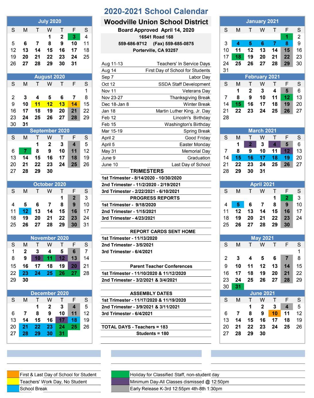 Calendar – Woodville Union School District Inside Texas Tech School Calendar 2020 2021