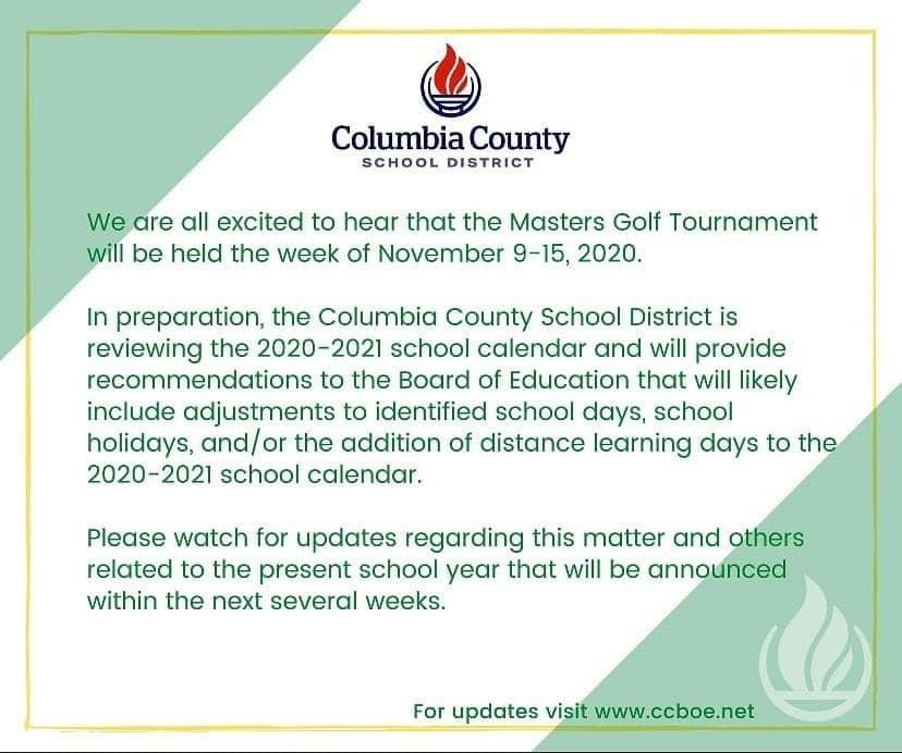 Columbia County Schools Making Plans For November Masters Pertaining To Aiken County Public School Calendar 2021