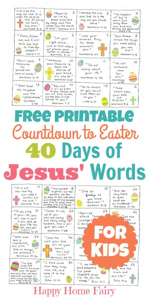 Countdown To Easter – 40 Days Of Jesus' Words For Kids Inside Word Of The Day Pfrint