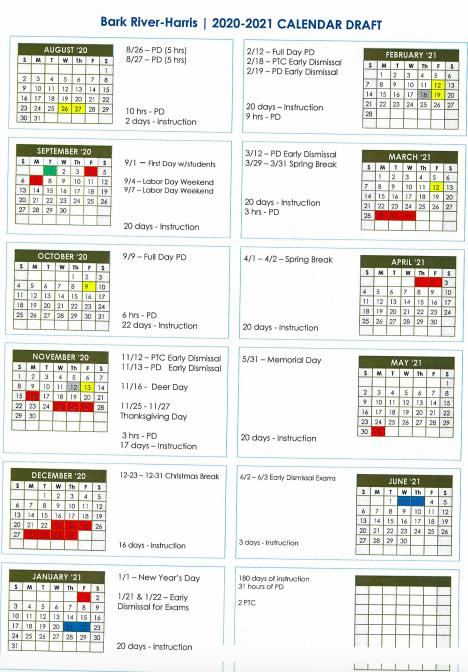 District Calendar – Bark River Harris Schools Inside 2021 Pine Bluff School District Calendar