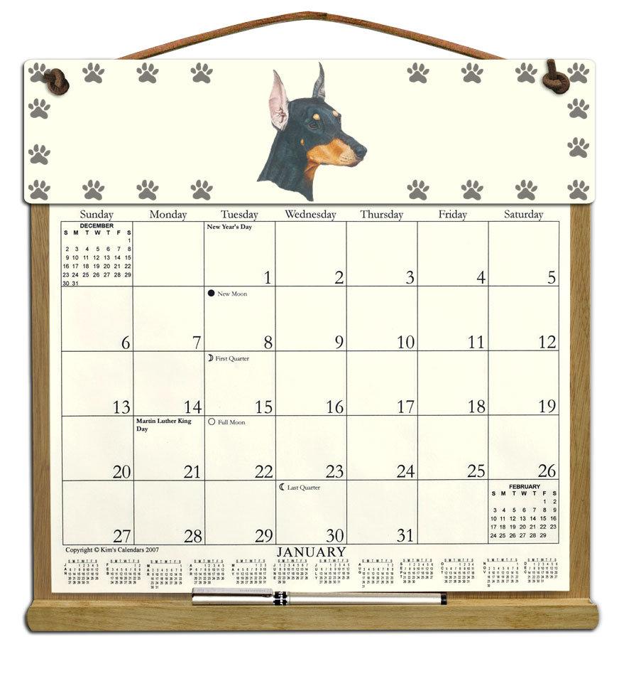Doberman Dog Calendar Holder Filled With A 2021 Calendar Throughout 454 2021 Calendar