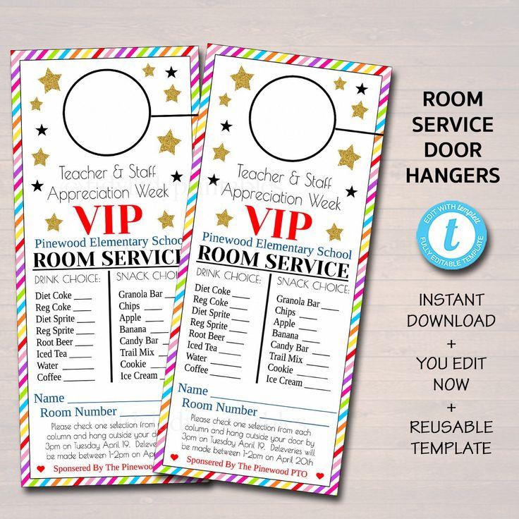 Editable Room Service Door Hanger, Instant Download For Teacher Appreciation Week 2021