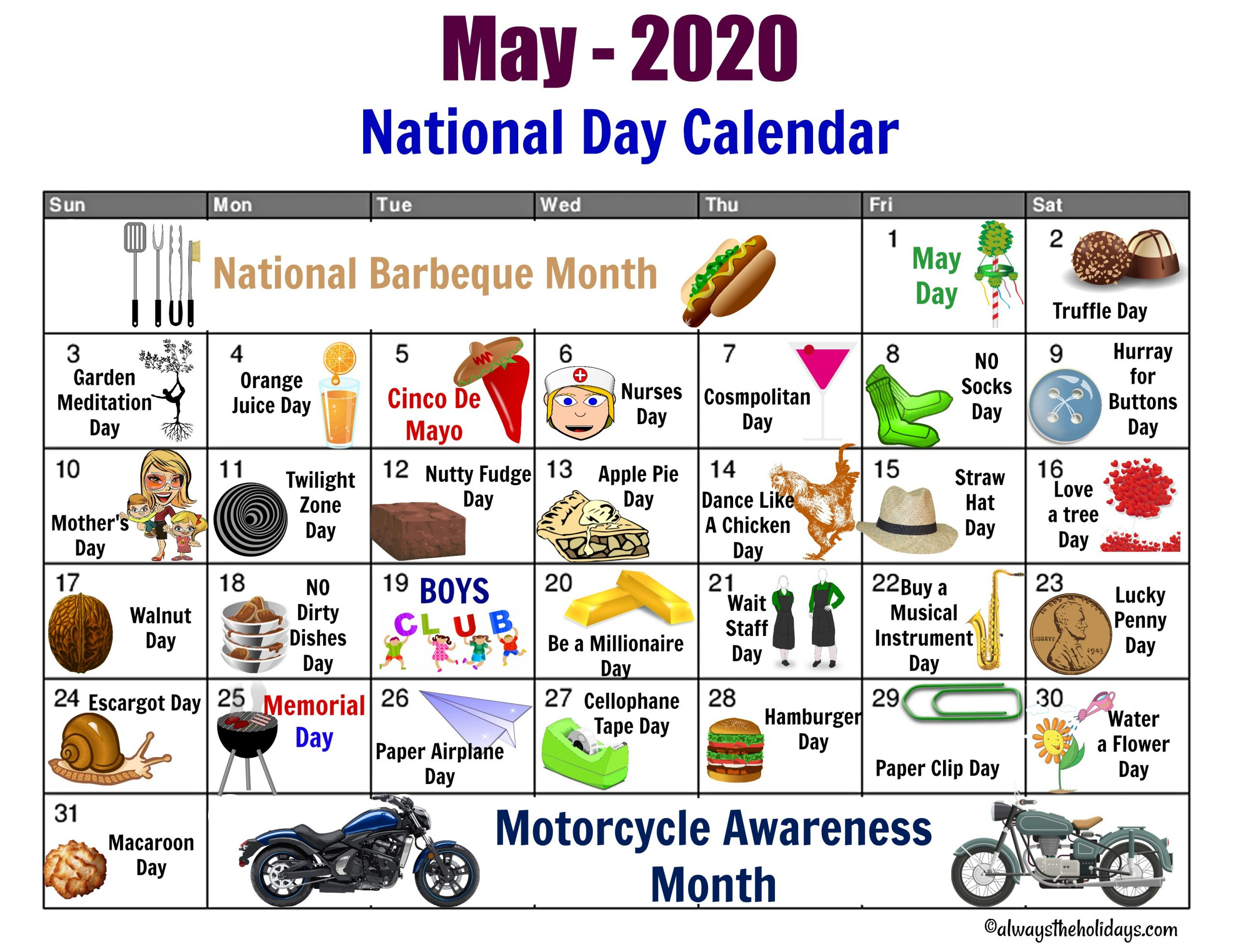 Every Day Is A Holiday Printable   Printable Calendar 2020 2021 With Regard To Free National Day Calendar