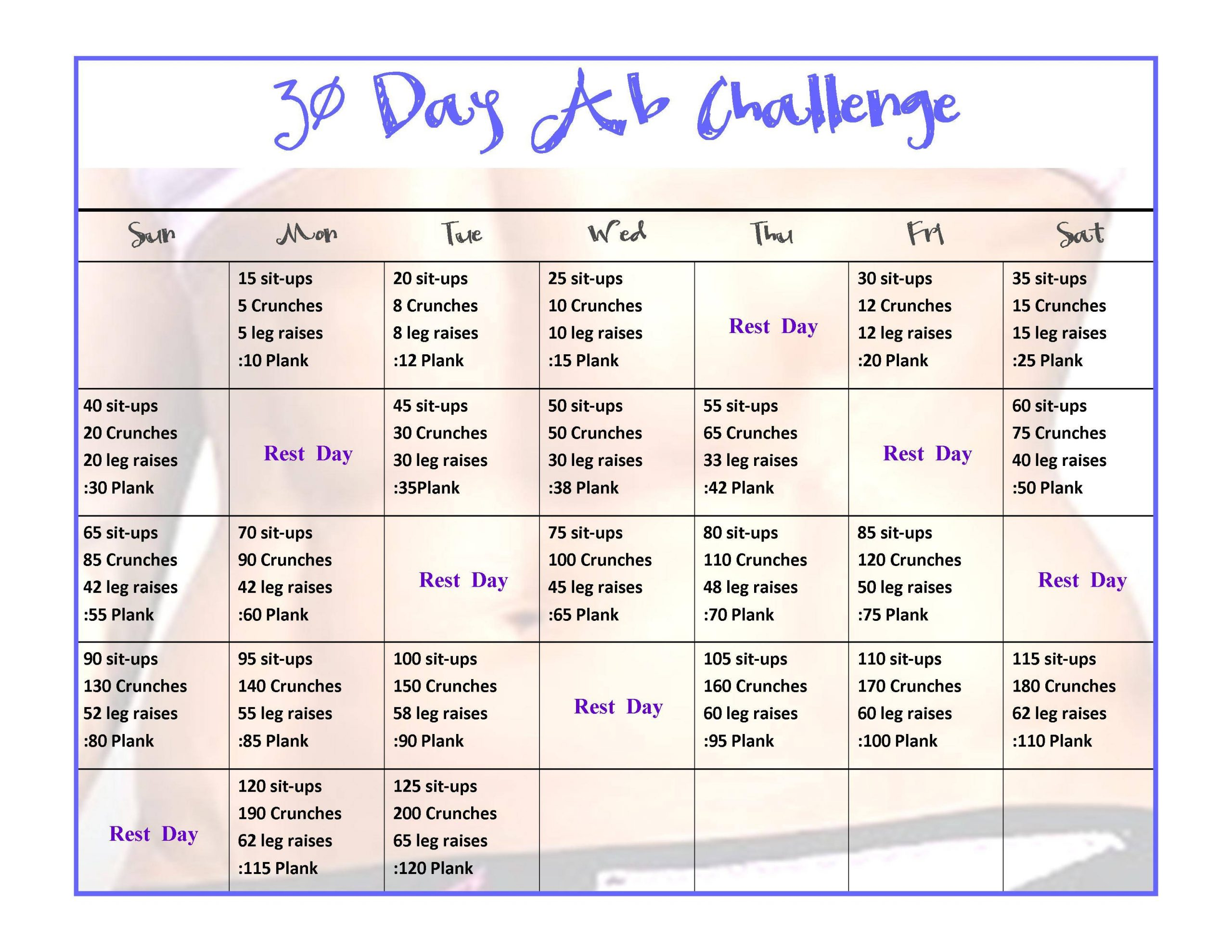 Exercise - 30 Day Ab Challenge - Physical Fitness Stack For 30Days Abs Challenge Printable