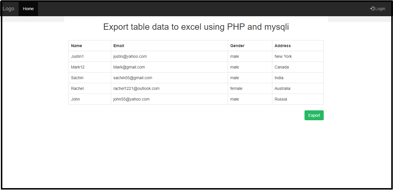 Export Table Data To Excel Using Php And Mysqli – Free For Export Data Into A Calendar Excel
