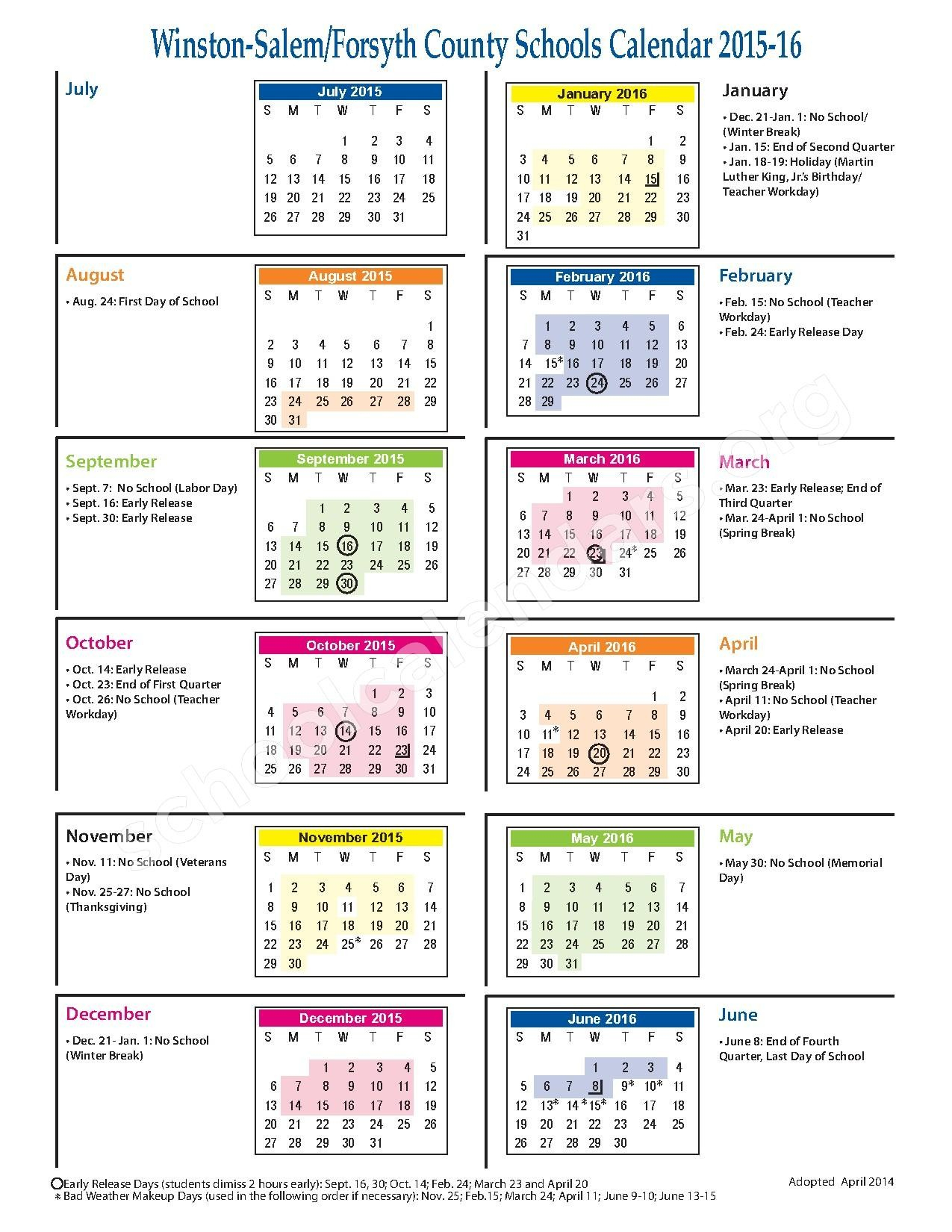 Forsyth County Calendar 2020 | Free Printable Calendar Intended For Winston Salem Forsyth County Schools Calendar Pdf