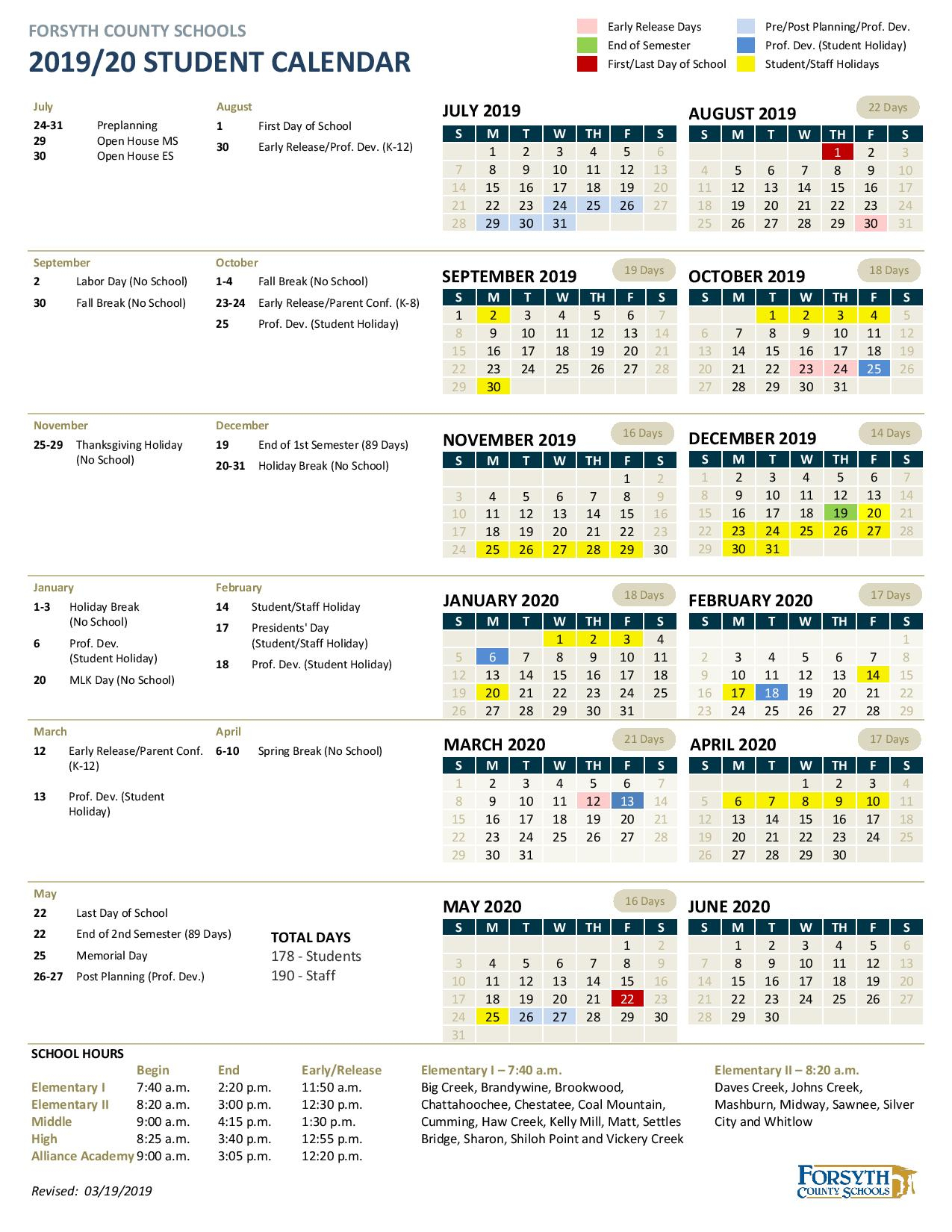 Forsyth County School Calendar 2020 | Free Printable Calendar In Winston Salem Forsyth County Schools Calendar Pdf